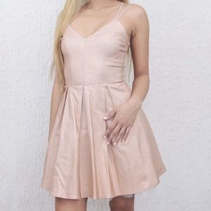 Charlotte Russe Rose Gold Metallic Flowy Dress